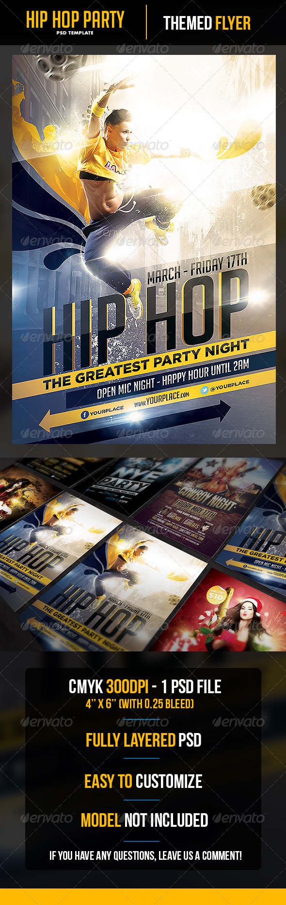 Hip Hop Party Flyer Template - Clubs & Parties Events