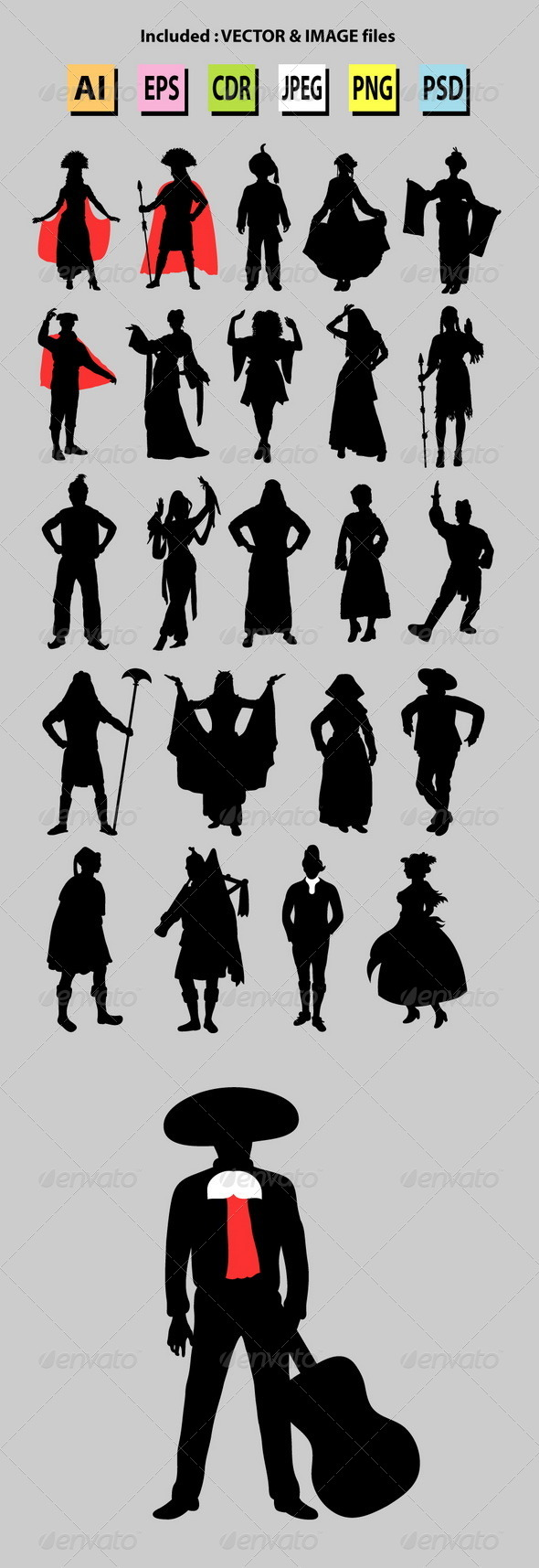 Nationalities Silhouette - People Characters