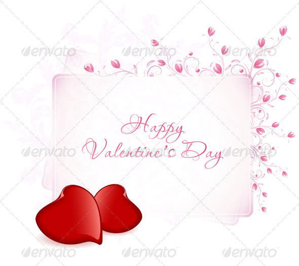 Happy Valentine's Day Floral Lettering - Valentines Seasons/Holidays