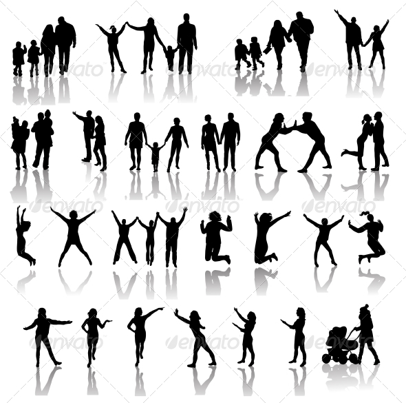 Family Silhouettes . Vector - People Characters