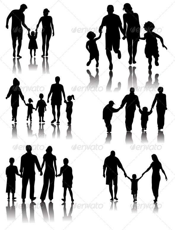 Family Silhouettes - Vector - People Characters