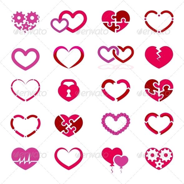 Heart Icon Set - Valentines Seasons/Holidays
