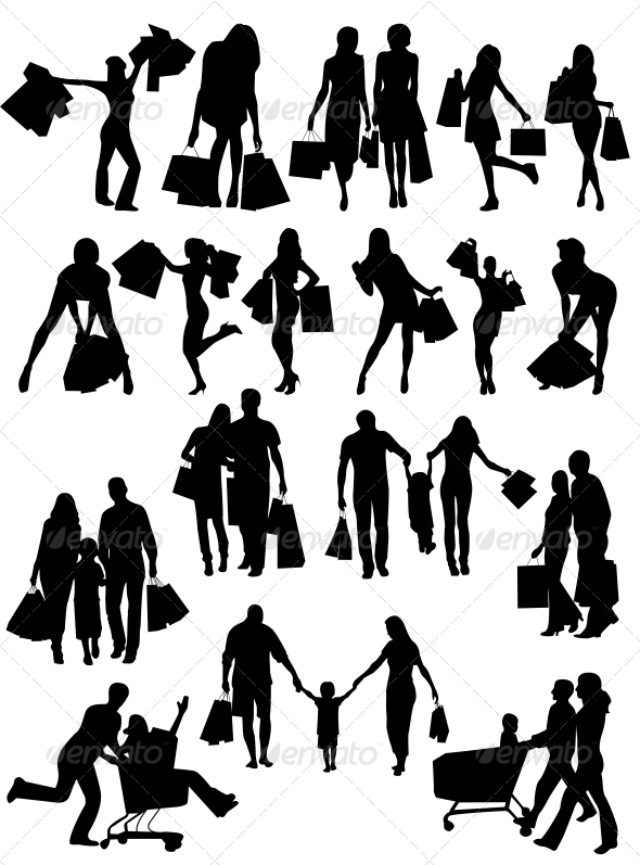 Shopping Family and Girls Silhouettes - People Characters