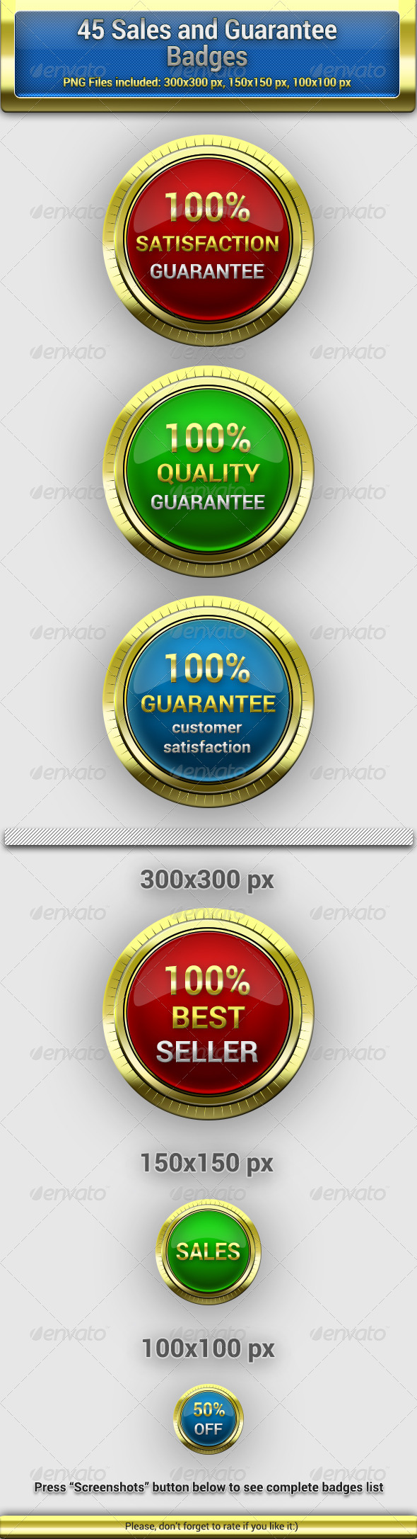 45 Sales and Guarantee Badges  - Badges & Stickers Web Elements