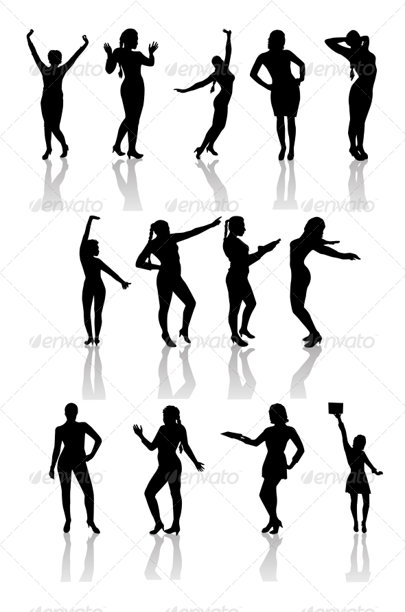 Silhouettes of Girls with Shadow . - People Characters