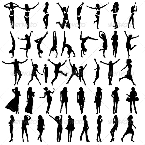 Silhouettes of Girls . Vector Illustration - People Characters