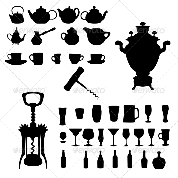 Silhouette of Drinks - Cafe Icons - Food Objects