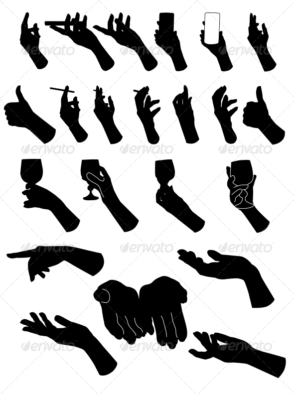 Set of Silouette Hands - Hand Holding  Objects - People Characters