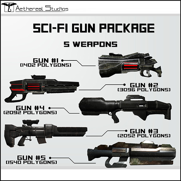 Sci-Fi Gun Weapon Pack - 3DOcean Item for Sale