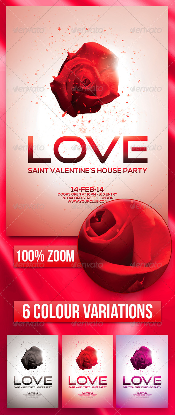 A5 Saint Valentine's House Party Flyer 4 in 1 - Events Flyers