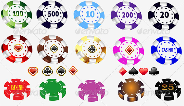Color Casino and Poker Chips Set - Sprites Game Assets