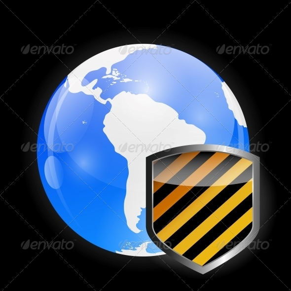 Globe Icon with Protection Shield - Web Technology