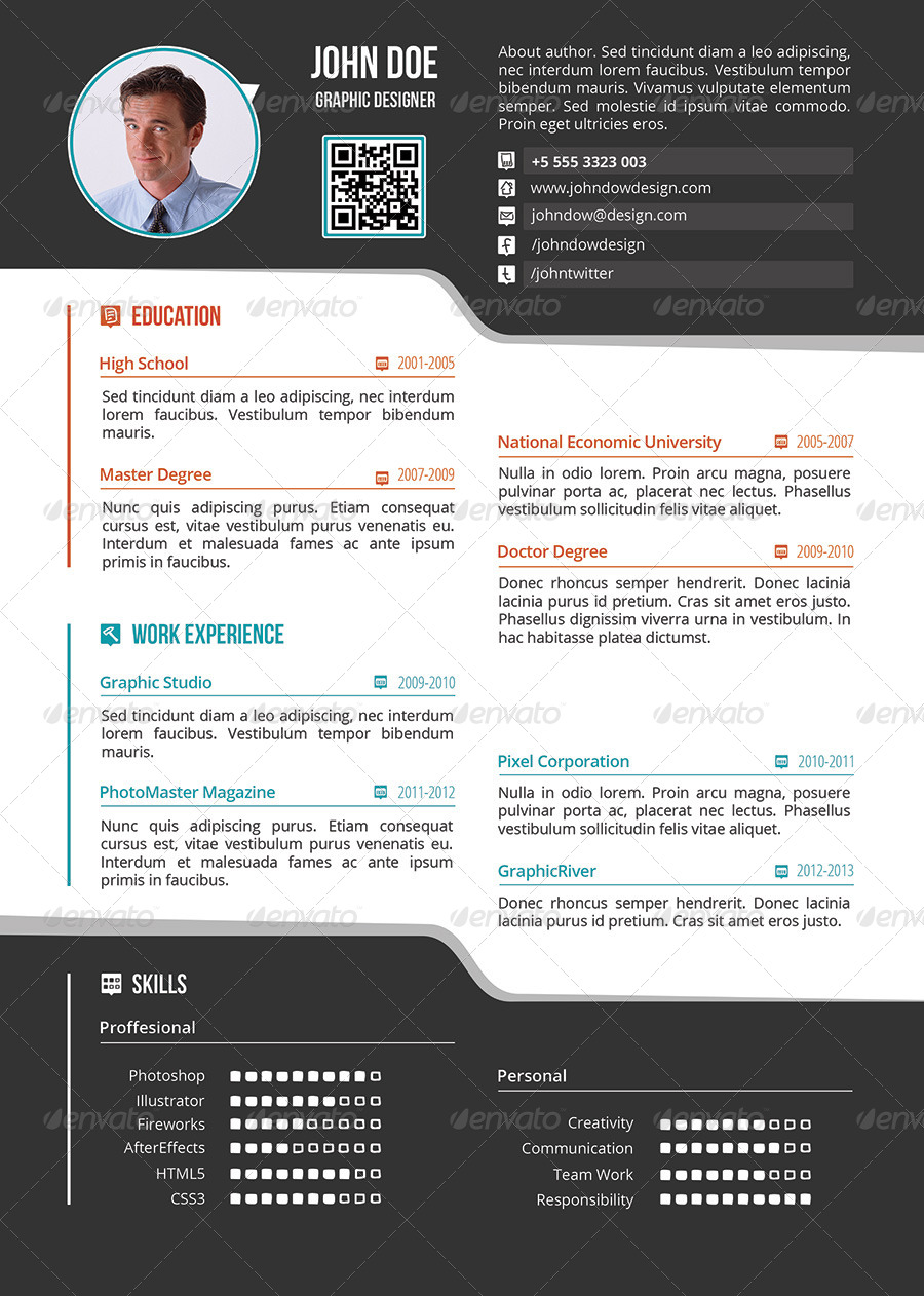 Simple One Page Resume / CV   Resumes Stationery ·  Screenshots/01_preview1 ...  Single Page Resume