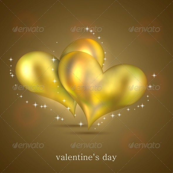Gold Hearts Background - Valentines Seasons/Holidays