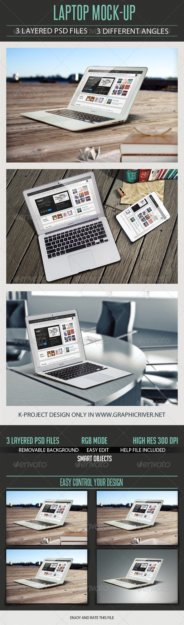 Laptop Mock Up - Product Mock-Ups Graphics