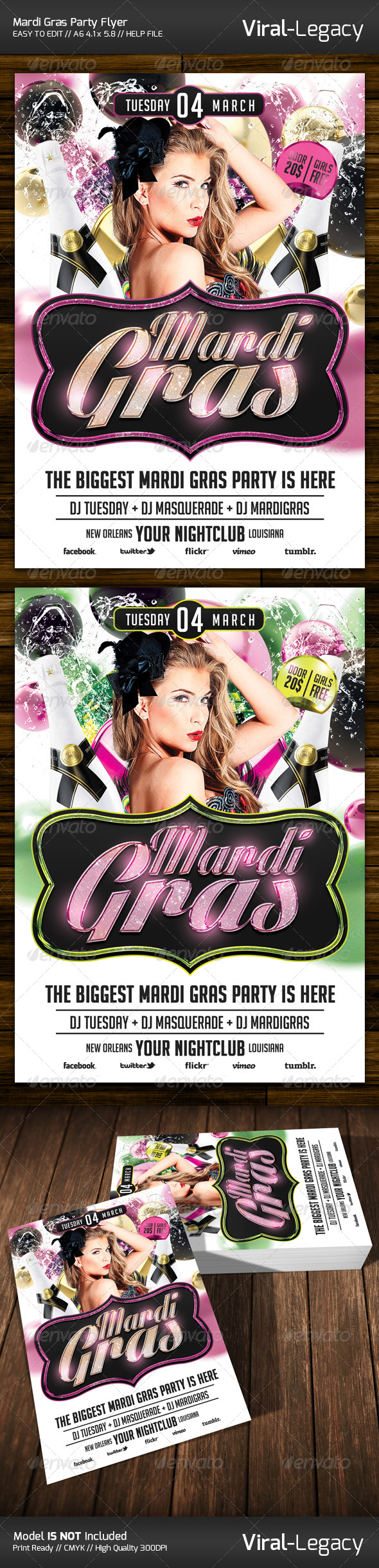 Mardi Gras Party Flyer - Flyers Print Templates