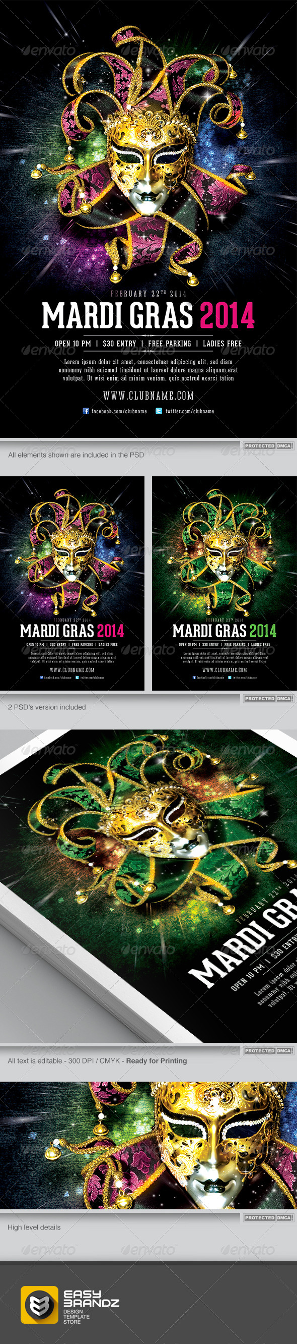 Mardi Gras 2014 Flyer Template - Events Flyers