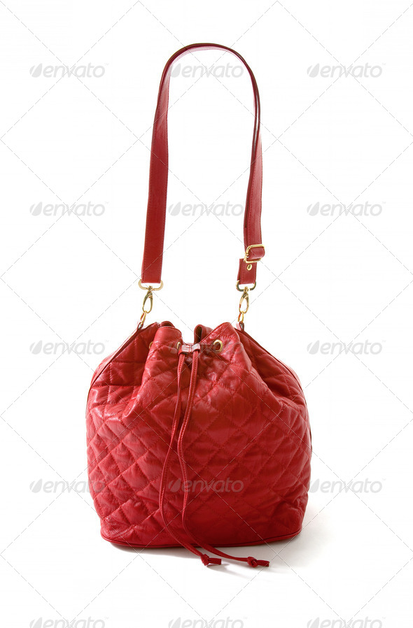 Red leather padded purse - Stock Photo - Images