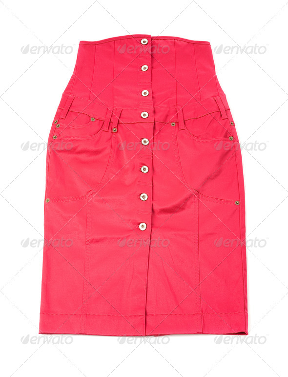 Pink shiny denim high waist tube skirt - Stock Photo - Images
