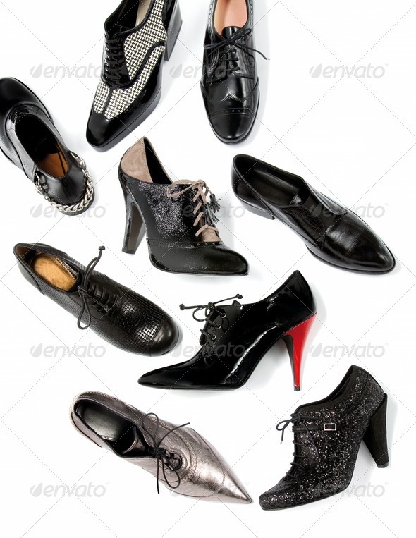 Black masculine female shoes still life fashion composition - Stock Photo - Images
