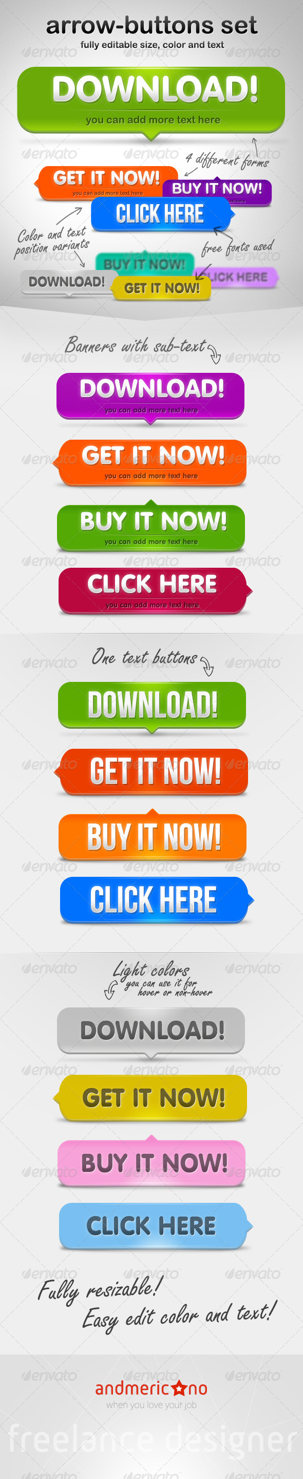 Arrow Buttons Set  - Buttons Web Elements