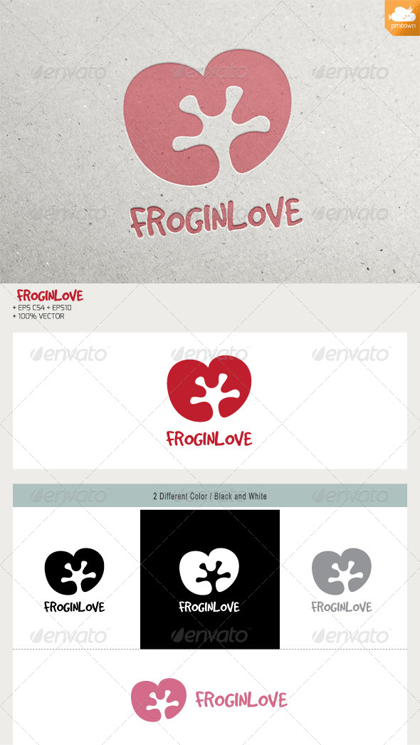 Frog in Love - Animals Logo Templates