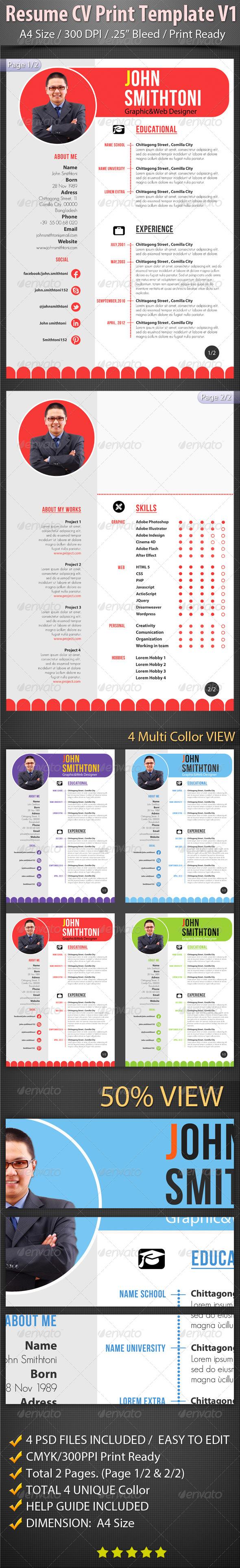 Resume CV Print Template V1 - Resumes Stationery