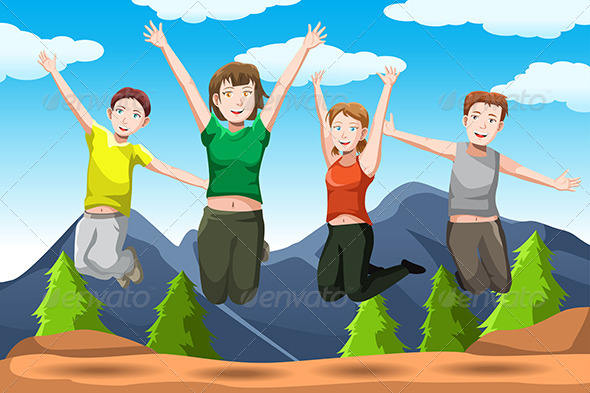 Friends Jumping - People Characters
