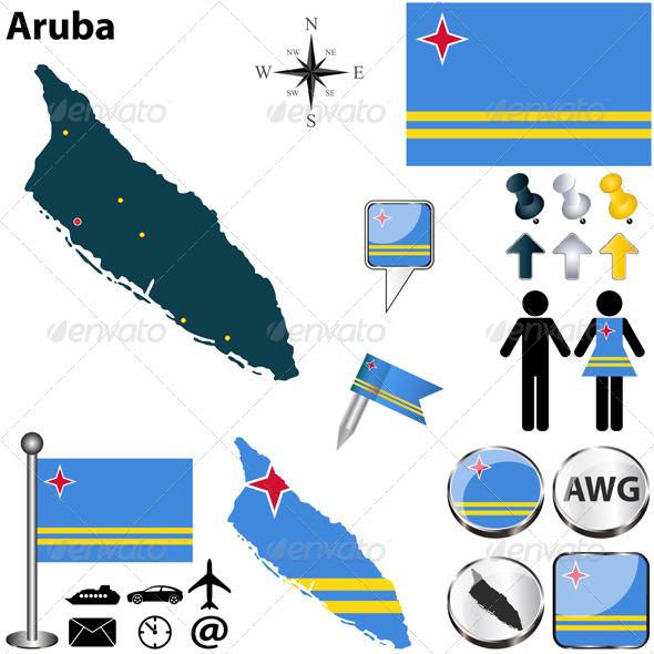 Map of Aruba - Travel Conceptual