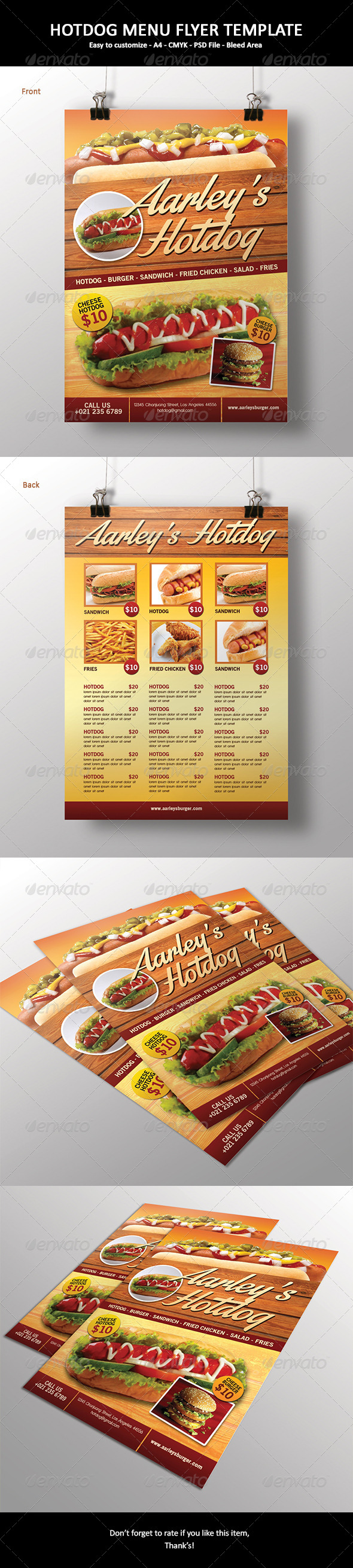 Hotdog Menu Flyer - Food Menus Print Templates