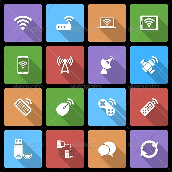 Wireless Devices Icons Set with Long Shadow - Technology Icons