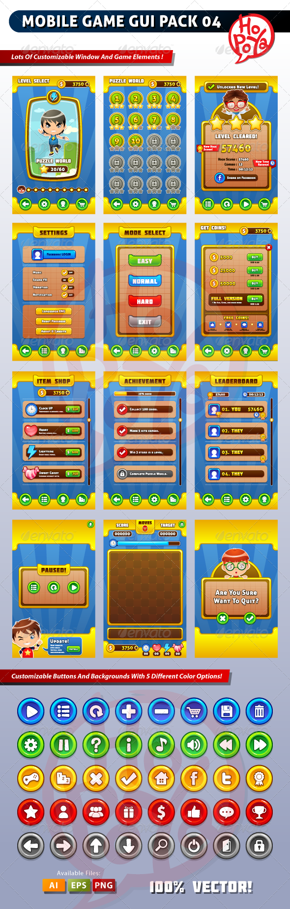 Mobile Game GUI Pack 04 - User Interfaces Game Assets