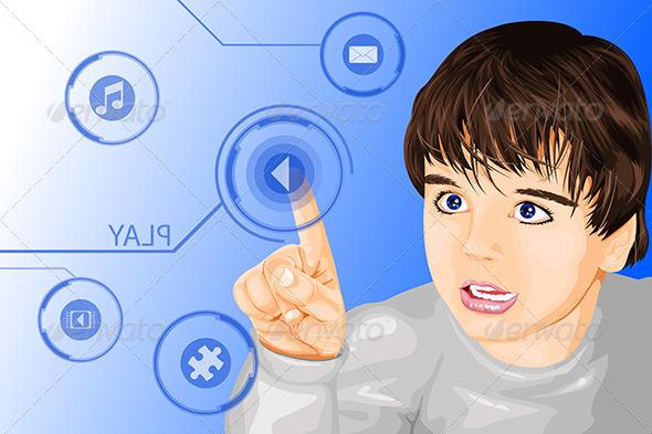 Modern Technology Kid - Technology Conceptual