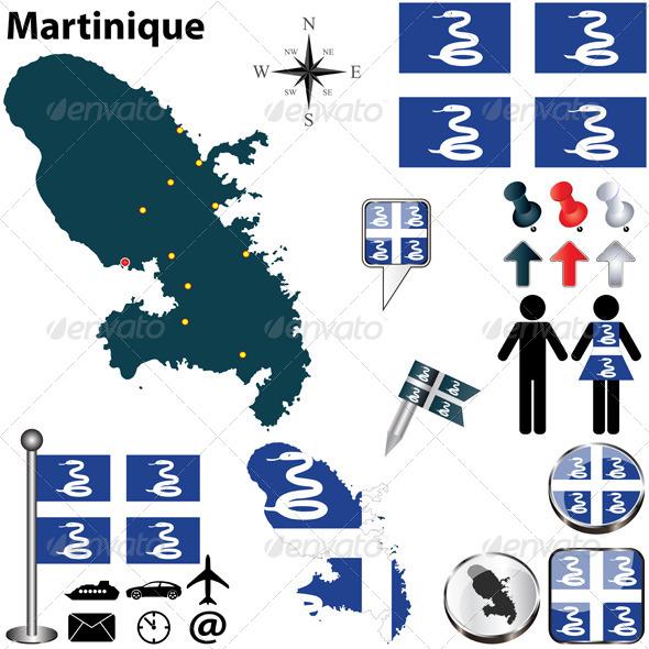 Map of Martinique - Travel Conceptual