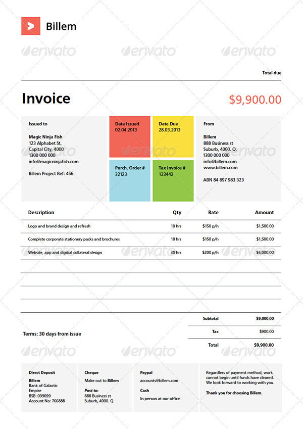 Billem Invoice Template Set By KennyWilliams GraphicRiver - Invoice jpg