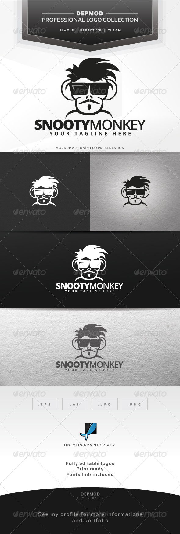 Snooty Monkey Logo - Animals Logo Templates