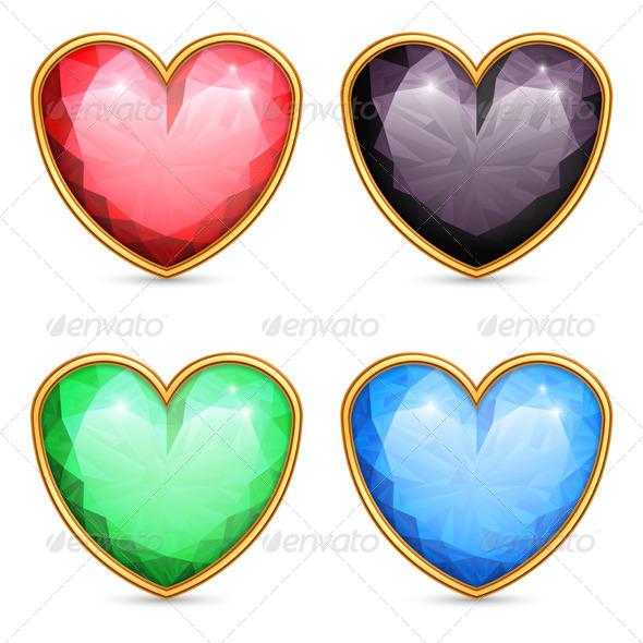 Heart Shaped Gems - Valentines Seasons/Holidays