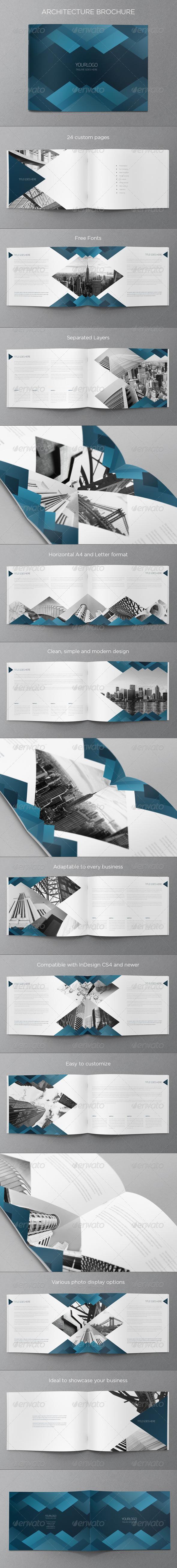 Blue Architecture Brochure - Brochures Print Templates