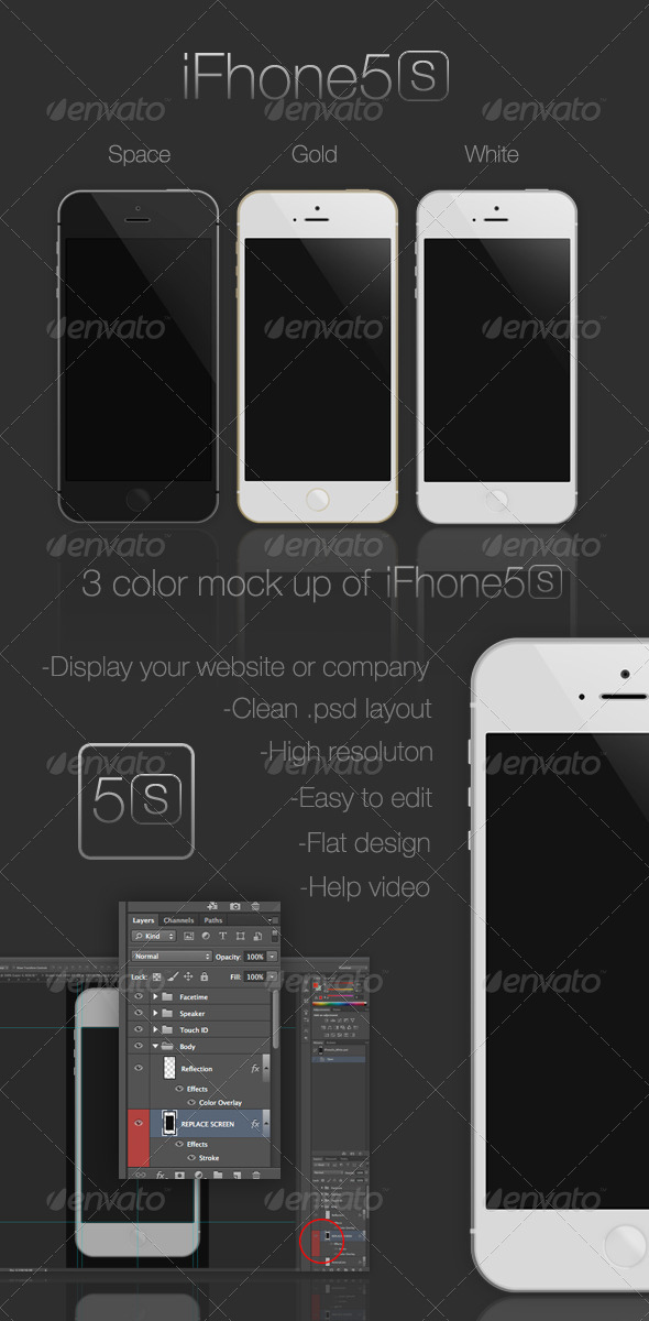 iFhone5s Mock-Up - Mobile Displays
