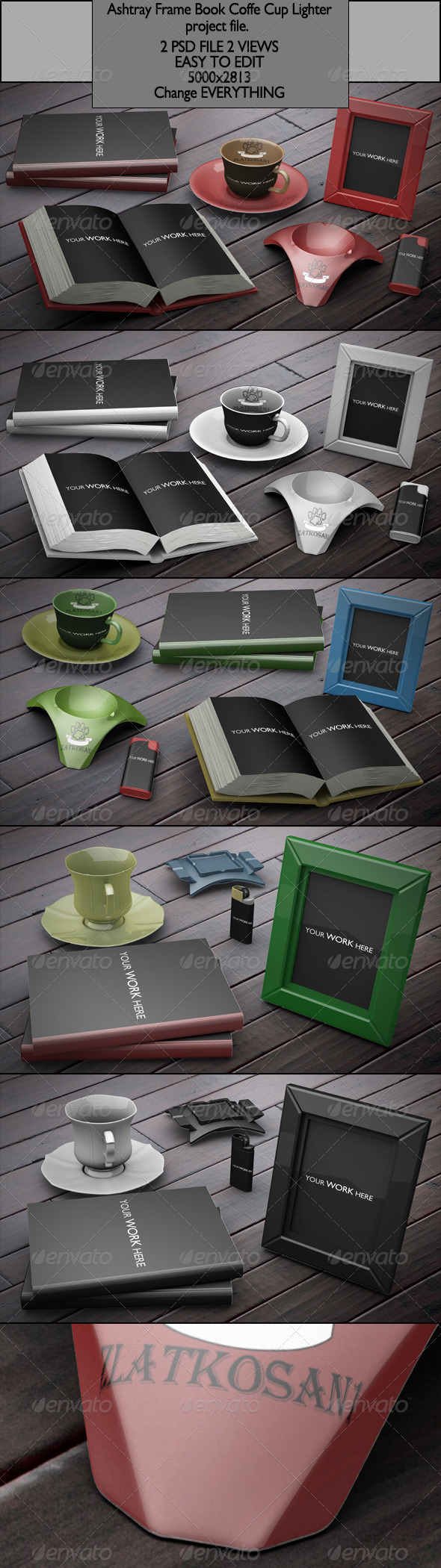 Ashtray Frame Book Coffe Cup Lighter project file - Photo Templates Graphics