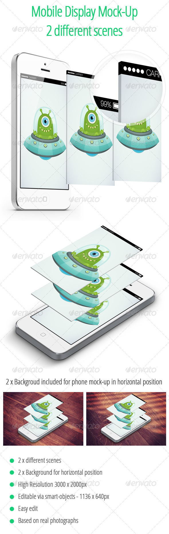 Mobile Display Mock-UP - 2 Isometric Scenes - Mobile Displays