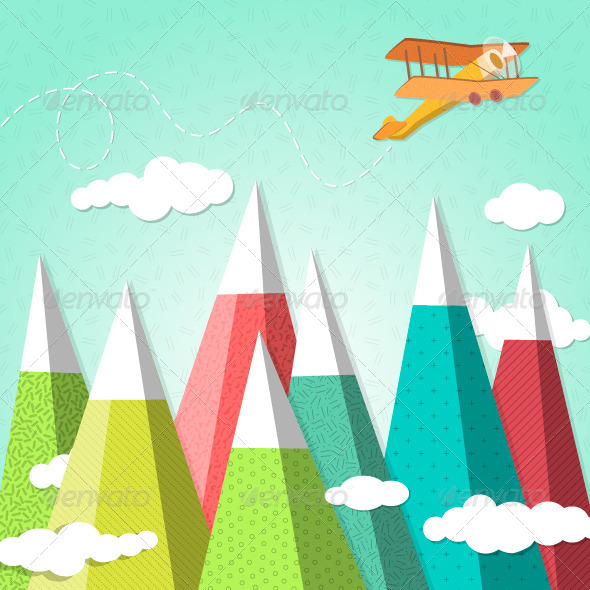 Mountain Background with a Biplane  - Travel Conceptual