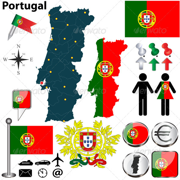Portugal Map - Travel Conceptual