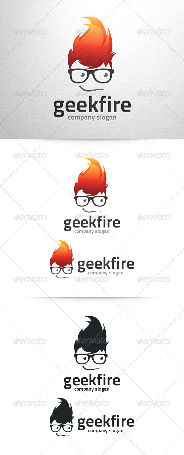Geek Fire Logo Template - Humans Logo Templates