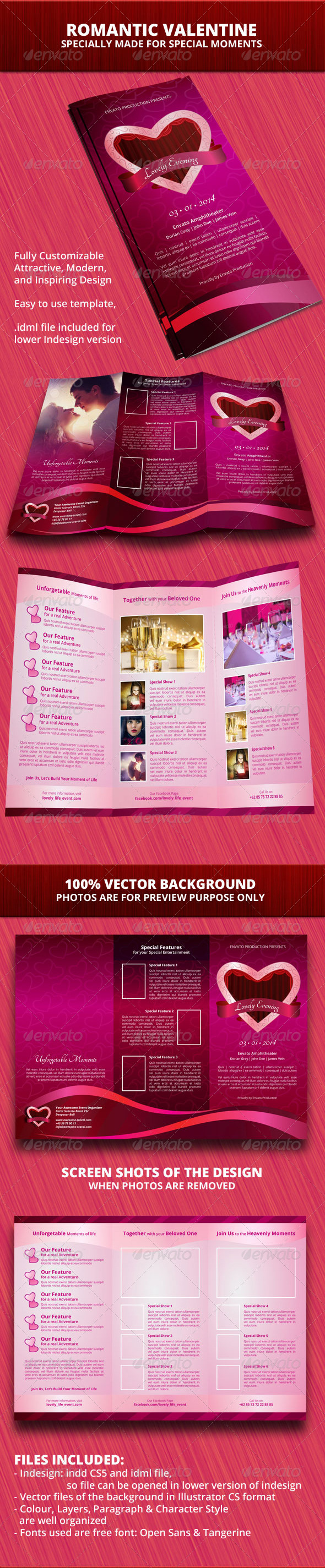 Romantic Valentine Trifold Brochure - Informational Brochures