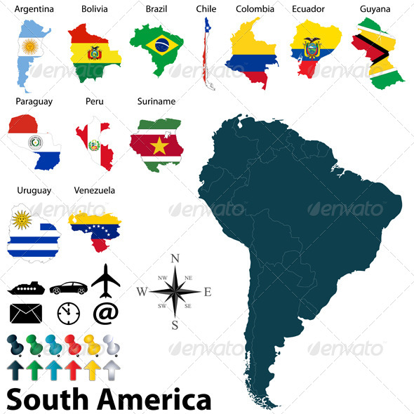 Maps of South America - Travel Conceptual