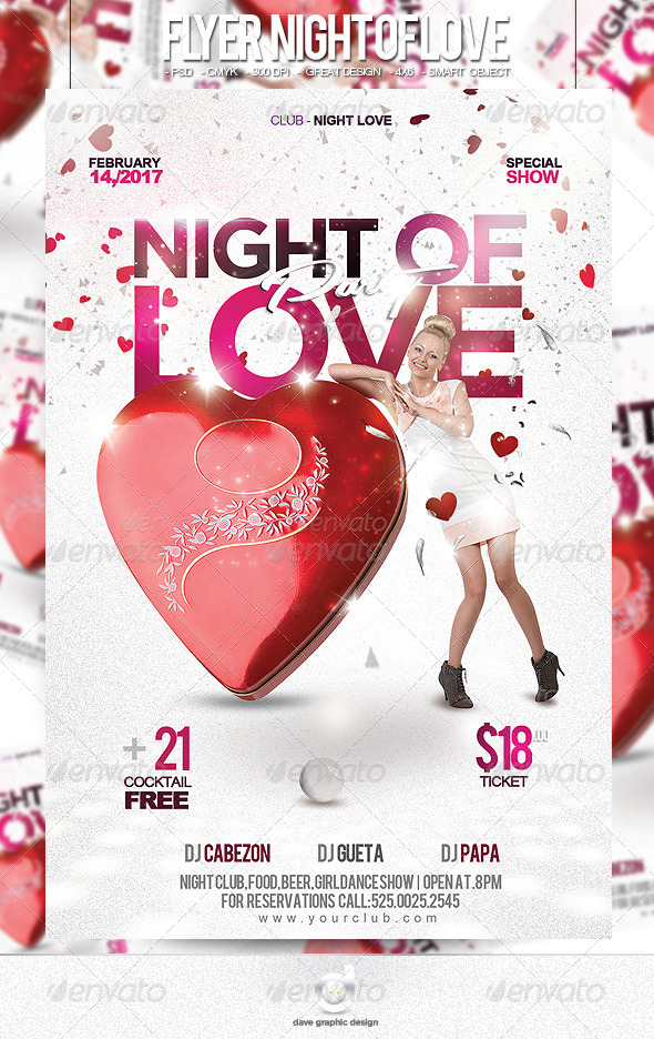 Flyer Night of Love Party - Clubs & Parties Events