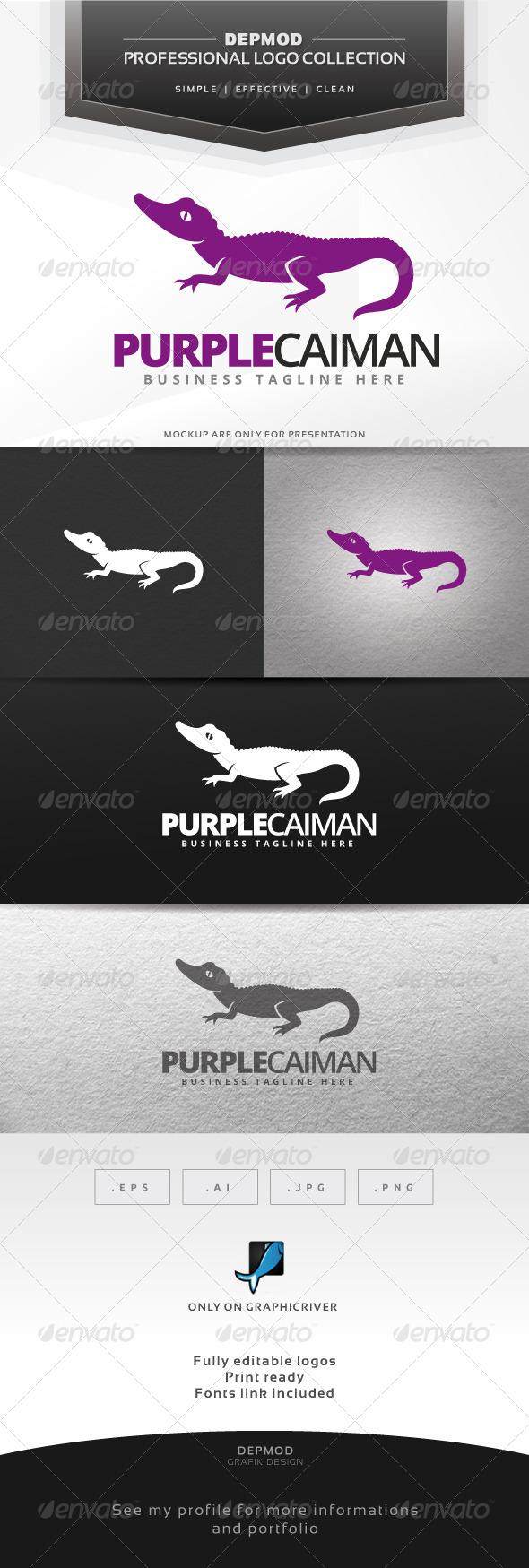 Purple Caiman Logo - Animals Logo Templates