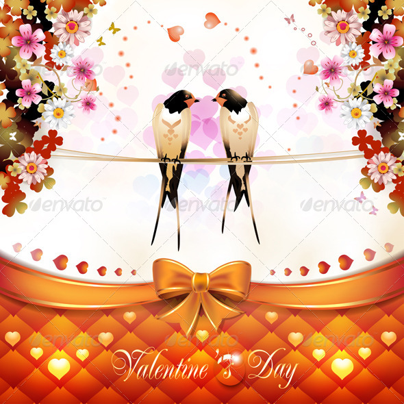Valentine's Day Card with Two Swallows  - Valentines Seasons/Holidays