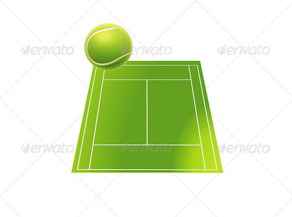 Tennis Court with Tennis Ball - Sports/Activity Conceptual
